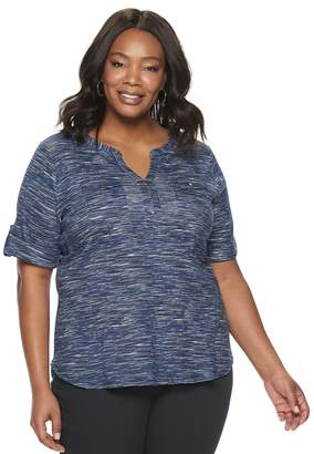 Croft & Barrow Plus Size Elbow Sleeve Two Pocket Pullover