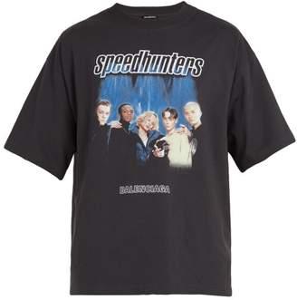Balenciaga Speedhunter Logo Print Cotton Jersey T Shirt - Mens - Black