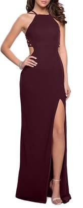 La Femme Open Back Jersey Gown