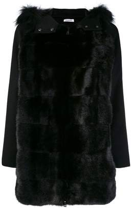 P.A.R.O.S.H. fur hood panelled coat