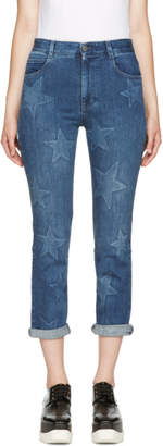Stella McCartney Blue Stars Cropped Boyfriend Jeans