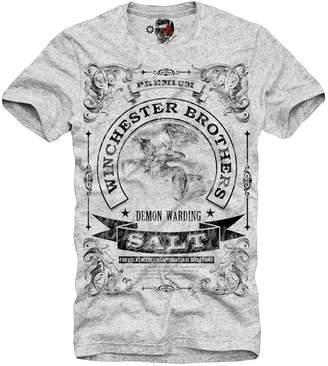 SAM. E1syndicate T-Shirt Supernatural Mugshot Dean Winchester Salt Grey S/M/L/Xl