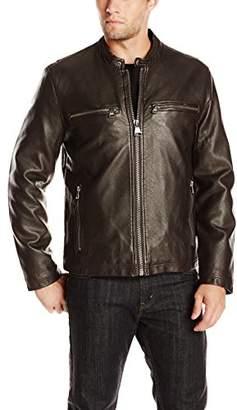 Andrew Marc Men's Lamar Distressed Faux-Leather Moto Jacket