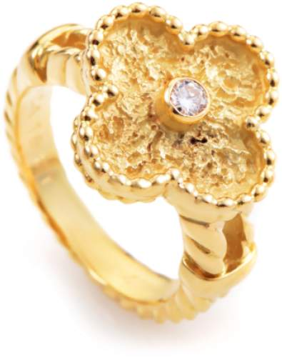 Van Cleef & Arpels Van Cleef & Arpels Alhambra 18K Yellow Gold Diamond Ring Size 6