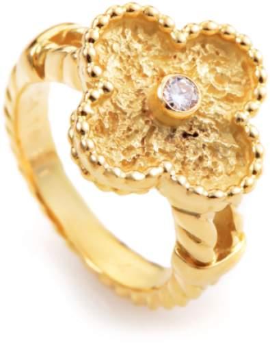 Van Cleef & ArpelsVan Cleef & Arpels Alhambra 18K Yellow Gold Diamond Ring Size 6