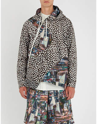 Comme des Garcons Asymmetric printed shell hooded jacket