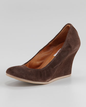 Lanvin Suede Wedge Pump, Brown