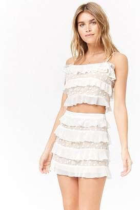 Forever 21 Embroidered Mesh Mini Skirt