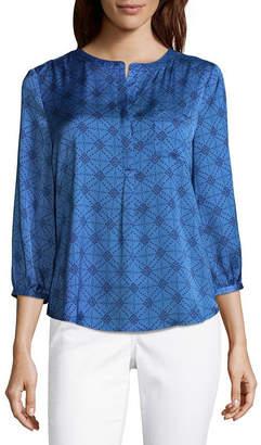 Liz Claiborne 3/4 Sleeve Woven Blouse