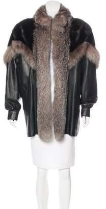 Fur Leather Mink & Fox-Trimmed Coat