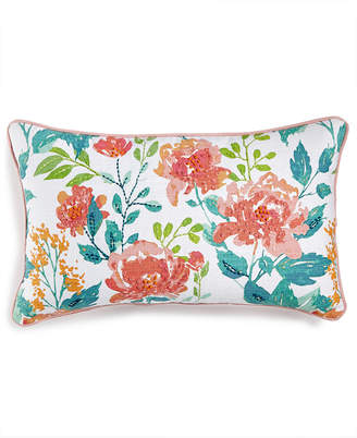 """Macy's Lacourte LAST ACT! Deborah 14"""" x 26"""" Embroidered Floral-Print Decorative Pillow, Created for"""
