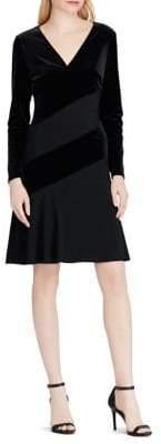 Lauren Ralph Lauren Paneled Velvet Flare Dress