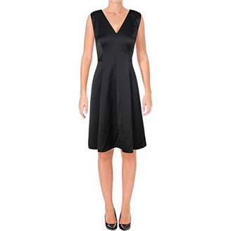Anne Klein Women's Sleeveless V-Neck Fit & Flare Satin Dress