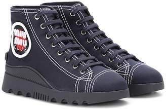 Miu Miu High-top canvas sneakers