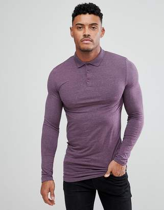 Asos Design DESIGN longline muscle fit long sleeve jersey polo in purple