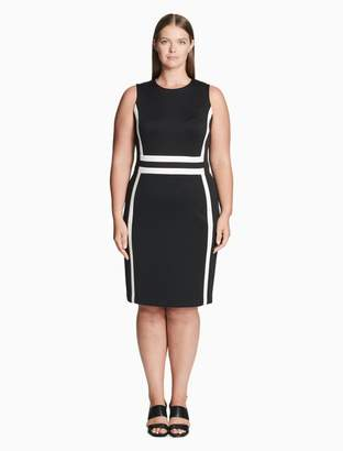 Calvin Klein Plus Size Colorblock Scuba Sheath Dress