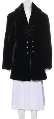 St. John Short Faux-Fur Coat Black Short Faux-Fur Coat