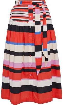 Nicholas Amalfi Striped Ruffle-Trimmed Cotton-Poplin Midi Skirt