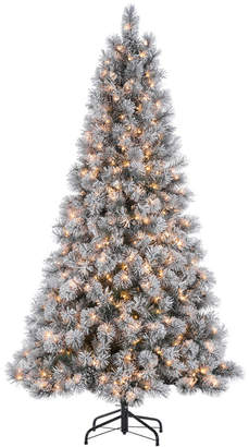 Sterling Tree Company 7.5Ft. High Flocked Pre-Lit Hard Mixed Needle Boise Pine With Warm White Lights