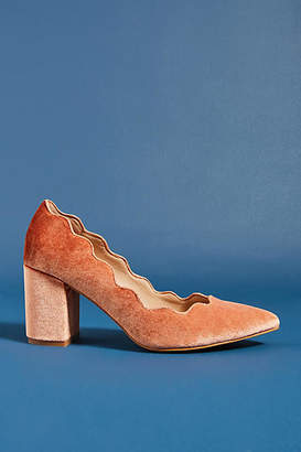Anthropologie Scalloped Velvet Heels
