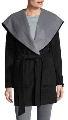 BCBGeneration Faux Leather Trim Wrap Coat