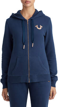 True Religion WOMENS METALLIC PUFF PRINT BUDDHA ZIP UP HOODIE