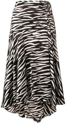 Ganni zebra print wrap skirt