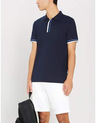 BOSS Striped trim cotton-jersey polo shirt