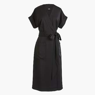 J.Crew Short-sleeve wrap dress in satin-back crepe