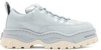 Eytys Angel Exaggerated Sole Patent Leather Trainers - Mens - Light Blue