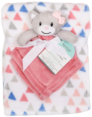Baby First by Nemcor 2-Piece Blanket Buddy Set, Pink Cat