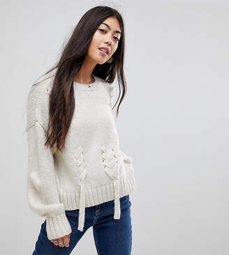 New Look Petite Cream Threaded Lace Up Jumper