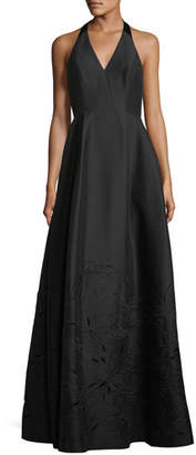 Halston Embroidered V-Neck Halter Gown