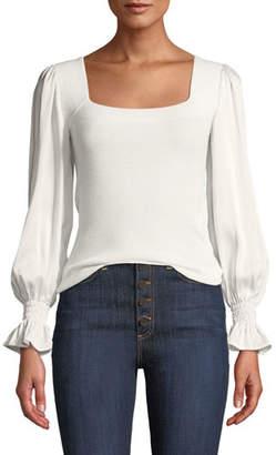 Rebecca Taylor Silk-Sleeve Merino Pullover Sweater