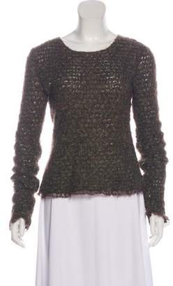 Chanel Lightweight Mohair-Blend Sweater Olive Lightweight Mohair-Blend Sweater