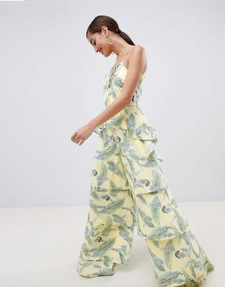 Asos Design DESIGN Tiered Jumpsuit With Lace Up Front In Tropical Print