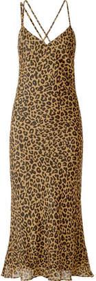 Michelle Mason Draped Leopard-print Silk-chiffon Midi Dress