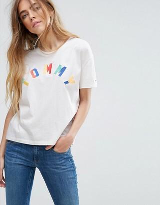 Tommy Hilfiger Denim Multi Color Logo T-Shirt $64 thestylecure.com