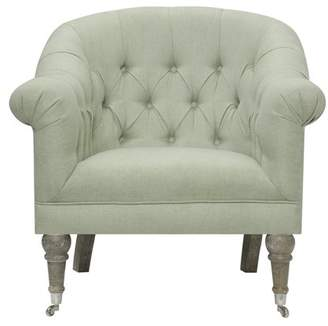 Emerald Home Maddy Sea Grass Green Accent Chair with Button Tufting, Turned Legs, And Chrome Casters