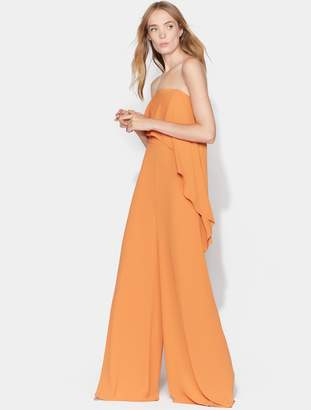 Halston Strapless Jumpsuit with Flounce Overlay