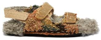 By Walid Felix 17th Century Shearling Lined Sandals - Mens - Blue Multi
