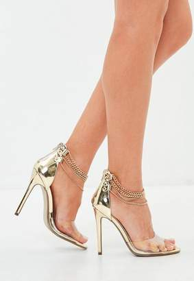 Missguided Gold Clear Strap Chain Detail Barely There Heeled Sandals