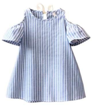 Möve on Summer Casual Girls Off Shoulder Short Sleeve O-Neck Stripe Dress size