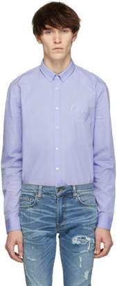 Balmain Blue Embroidered Medallion Shirt