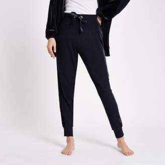 River Island Navy jersey loose fit lounge joggers