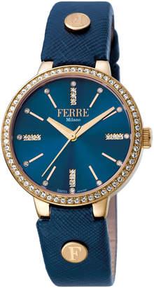 Ferré Milano Women's 34mm Stainless Steel 3-Hand Glitz Watch with Leather Strap, Golden/Blue
