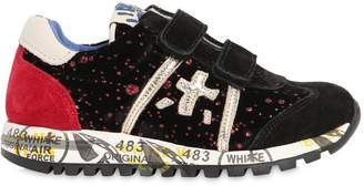 Premiata Lucy Glittered Suede Sneakers