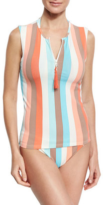 Letarte Sleeveless Striped Zip Rashguard, Multistripe $158 thestylecure.com