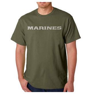 LOS ANGELES POP ART Los Angeles Pop Art Lyrics to the Marine Hymn Word Art T-Shirt- Men's Big and Tall