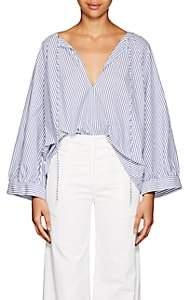 Nili Lotan Women's Alivia Striped Cotton Blouse - Blue, White stripe